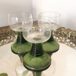 Vintage Green Glass Pedestal Shot Glasses Barware